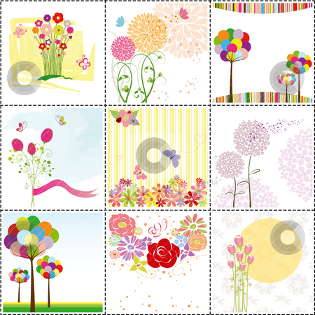 Set of colorful flower greeting card stock vector clipart, set of colorful flowers,butterfly,ladybird  greeting card by meikis