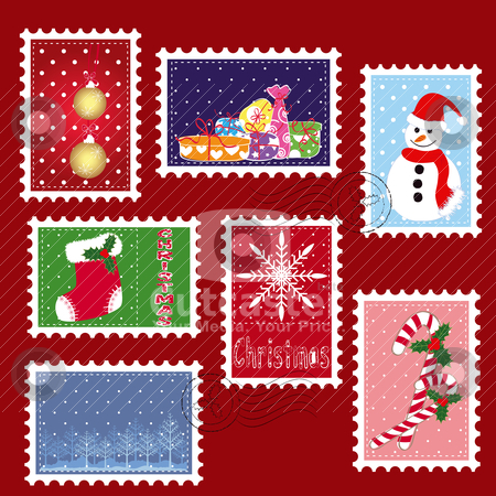 Sets of winter Christmas stamp postage stock vector clipart, sets of winter Christmas stamp postage on red background by meikis