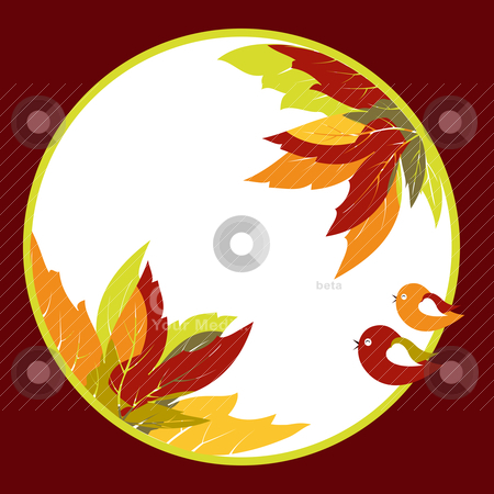 Abstract autumn leaves with bird background stock vector clipart, Abstract coloful autumn leaves with bird background by meikis