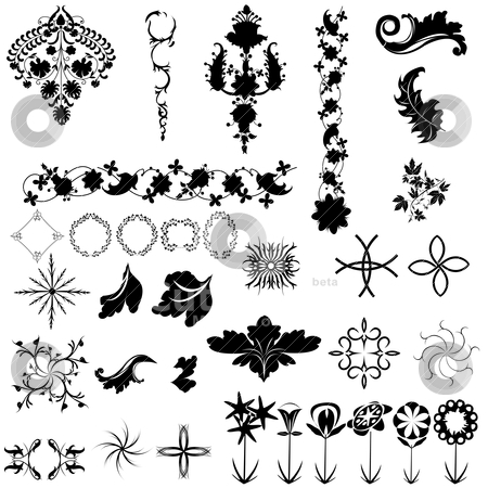 Collection of design elements stock vector clipart, Collection of design elements, vintage graphic. isolated objects over white background by Richard Laschon