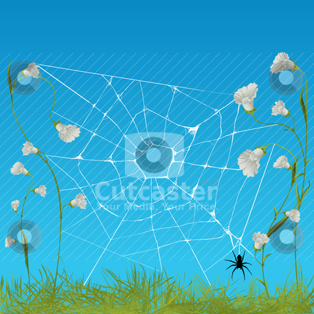 Web spider stock vector clipart, web spider among flowers, graphic art by Richard Laschon