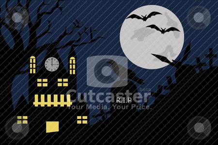 Halloween illustration stock vector clipart, Halloween illustration of a house in cemetery by Ioana Martalogu